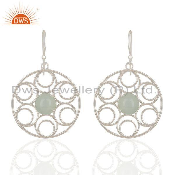 Aqua Chalcedony Gemstone 925 Sterling Silver Earring Manufacturers