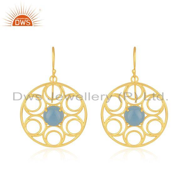 Beautiful Wire Design Gold Plated 925 Silver Blue Chalcedony Earrings