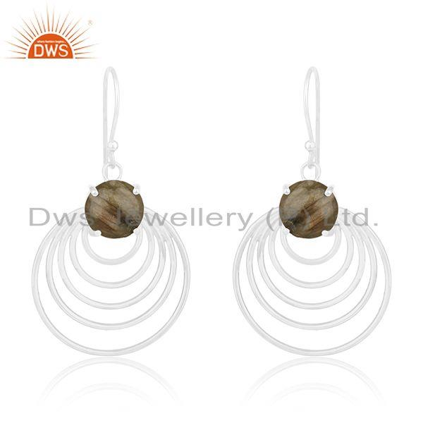 92.5 Sterling Silver Natural Labradorite Gemstone Designer Earrings Wholesale