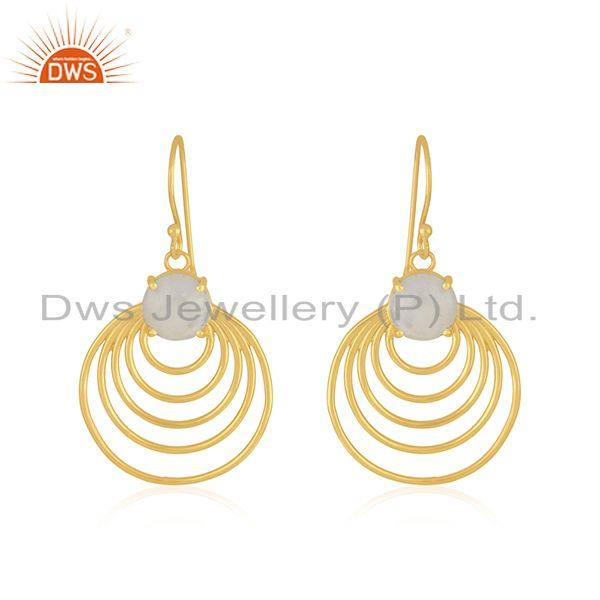 Rainbow Moonstone Gemstone Designer Gold Plated Silver Earring Jewelry