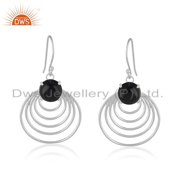 Black Onyx Gemstone Sterling 92.5 Silver Party Wear Jewelry Earring Wholesale