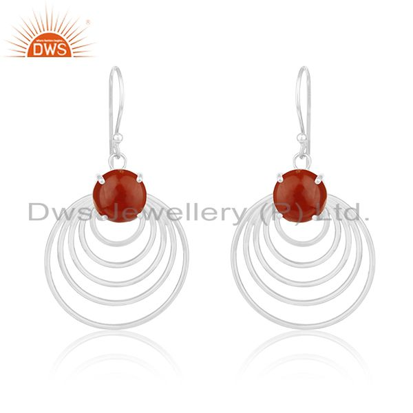 Fine Sterling Silver Red Onyx Gemstone Designer Earrings for Womens Jewelry