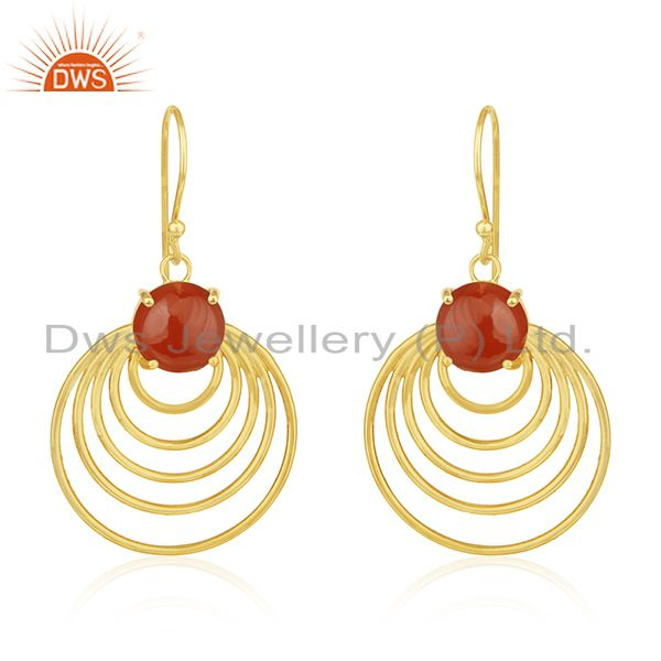 14k Gold Plated Sterling Silver Red Onyx Gemstone Designer Earrings for Womens