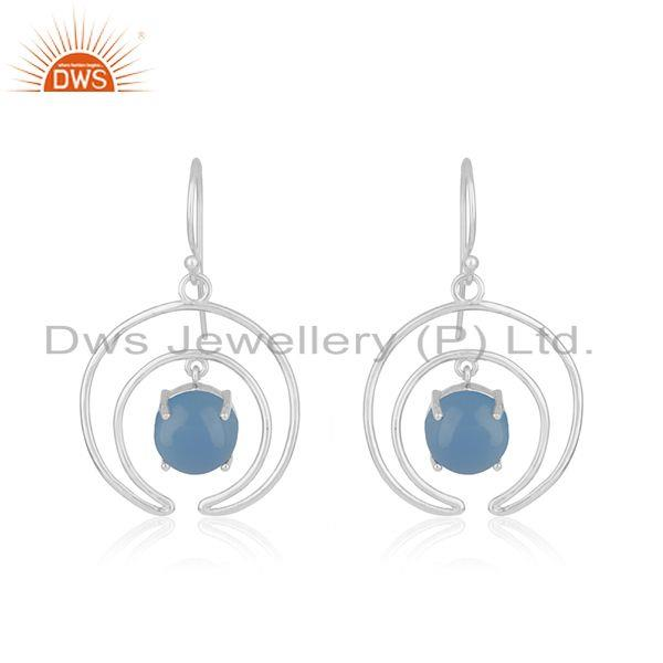 Crescent Moon Design Fine Sterling Silver Blue Chalcedony Earrings