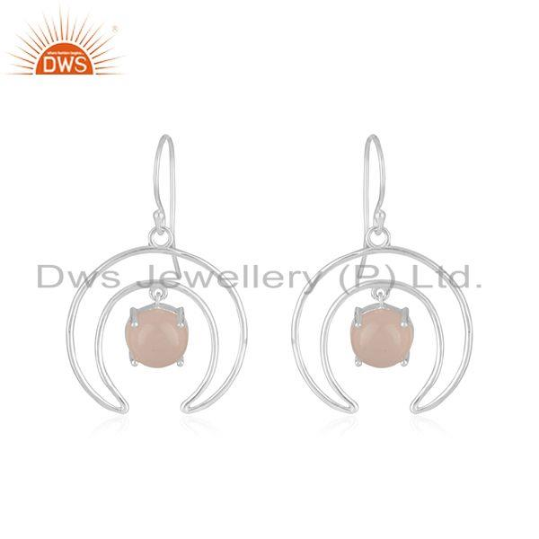 Crescent Moon Design Fine Sterling Silver Pearl Earrings Manufacturer
