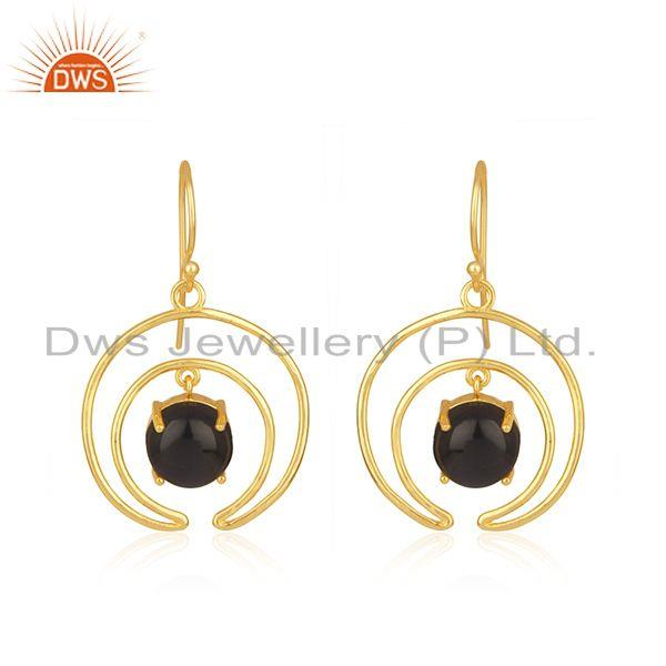 925 Sterling Silver Gold Plated Crescent Moon Design Gemstone Earrings