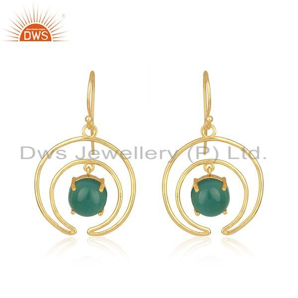 Green Onyx Gemstone Crescent Moon Gold Plated 925 Silver Earrings