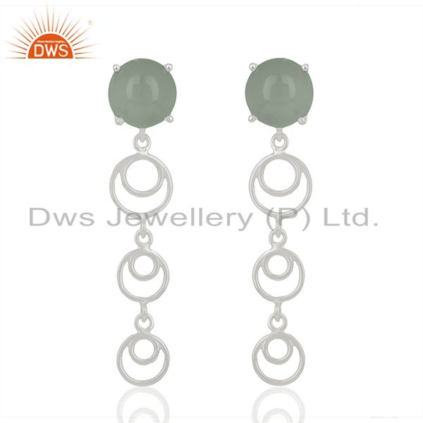 925 Fine Silver Aqua Chalcedony Gemstone Dangle Earrings Wholesale