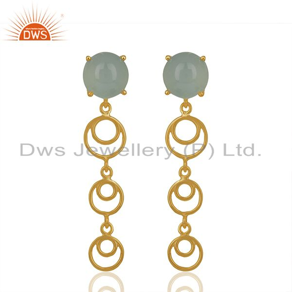 Gold Plated 925 Silver Aqua Chalcedony Gemstone Dangle Earrings
