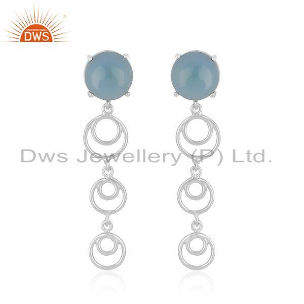 Blue Chalcedony Gemstone Fine Sterling Silver Designer Womens Earrings