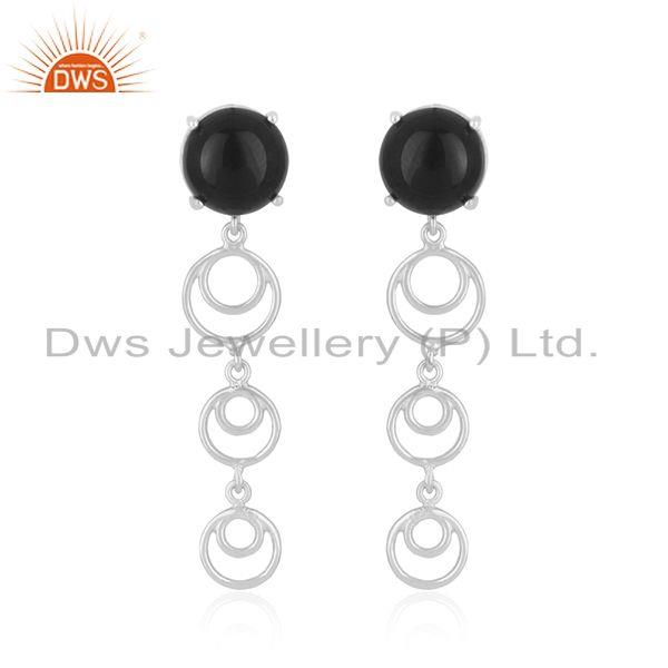 New Arrival Fine 925 Sterling Silver Black Onyx Gemstone Earrings