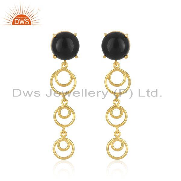 New Arrival Gold Plated Sterling Silver Black Onyx Gemstone Earrings