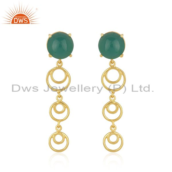 Best Selling Gold Plated Silver Green Onyx Gemstone Designer Earrings