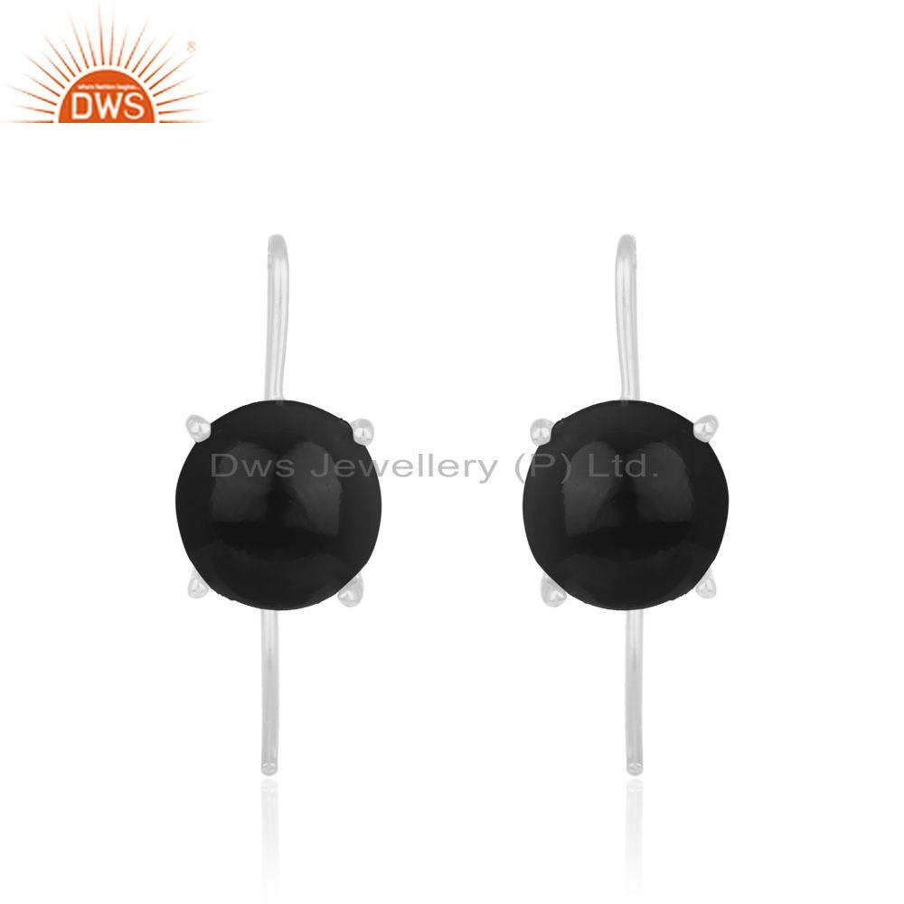925 Sterling Fine Silver Black Onyx Gemstone Earrings Manufacturers