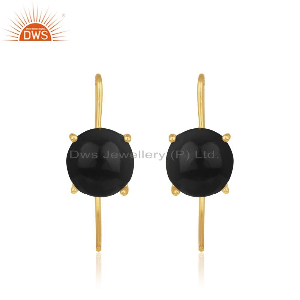 Gold Plated 925 Silver Black Onyx Gemstone Earrings Manufacturers