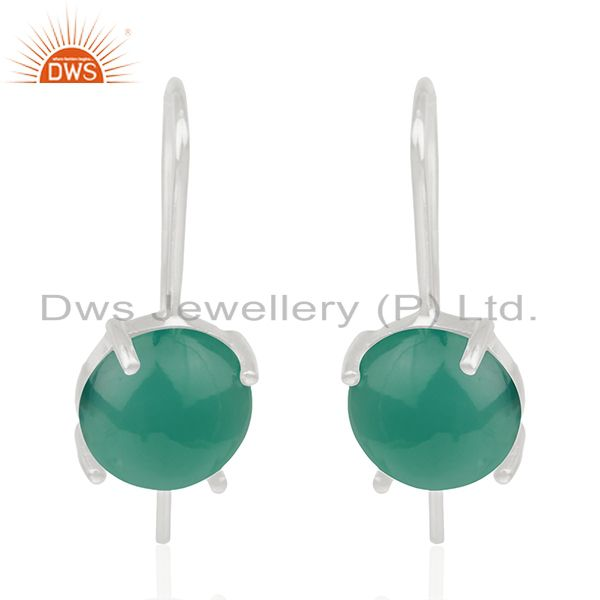 Green Onyx Gemstone Sterling Fine Silver Drop Earrings Manufacturer India