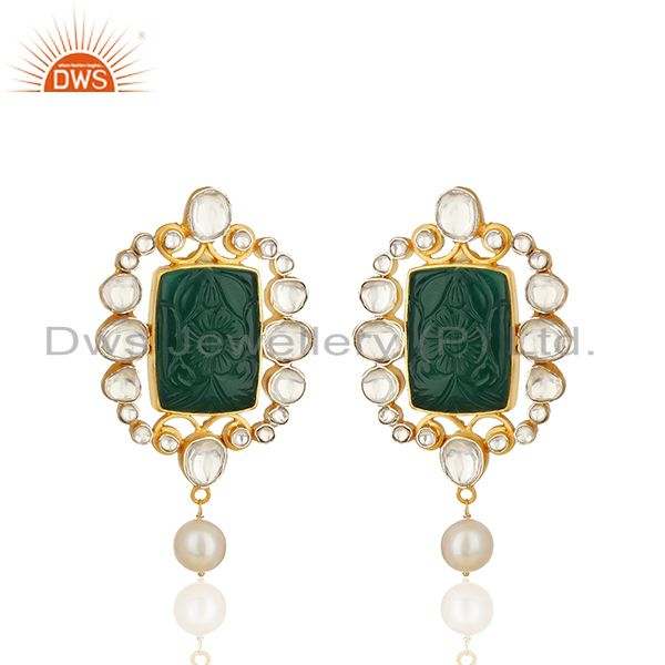 Hancraved Green Onyx Gemstone 925 Silver Drop Earrings Wholesale