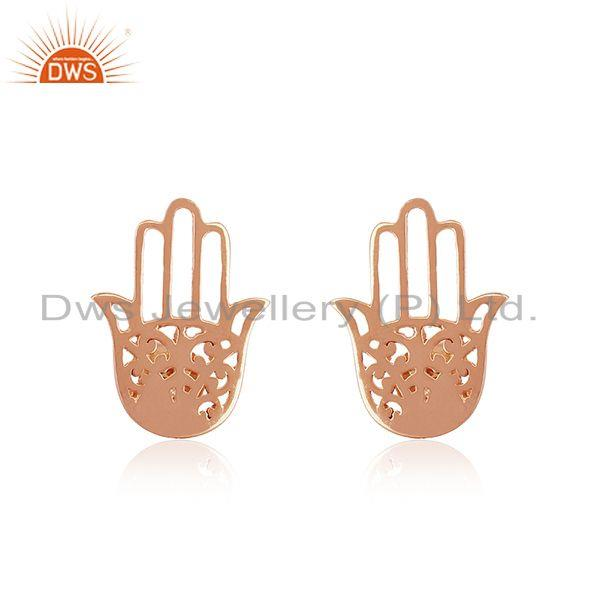 Rose Gold Plated Sterling Silver Hamsa Hand Stud Earrings Manufacturer