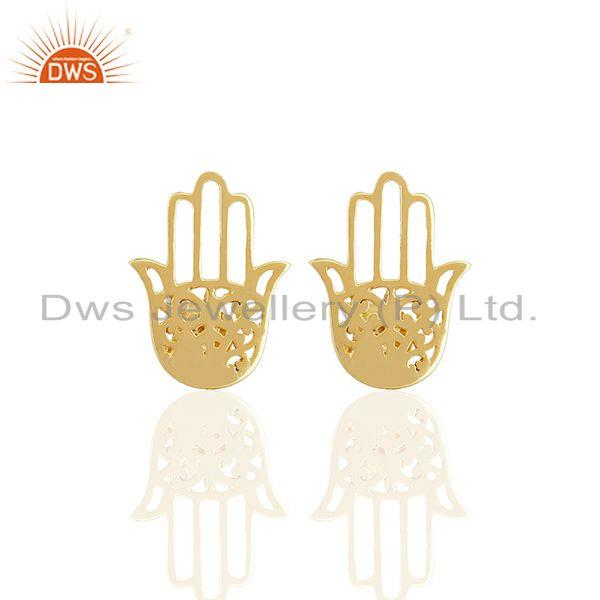 14k Gold Plated Sterling Silver Hamsa Hand Charm Stud Earrings Jewelry