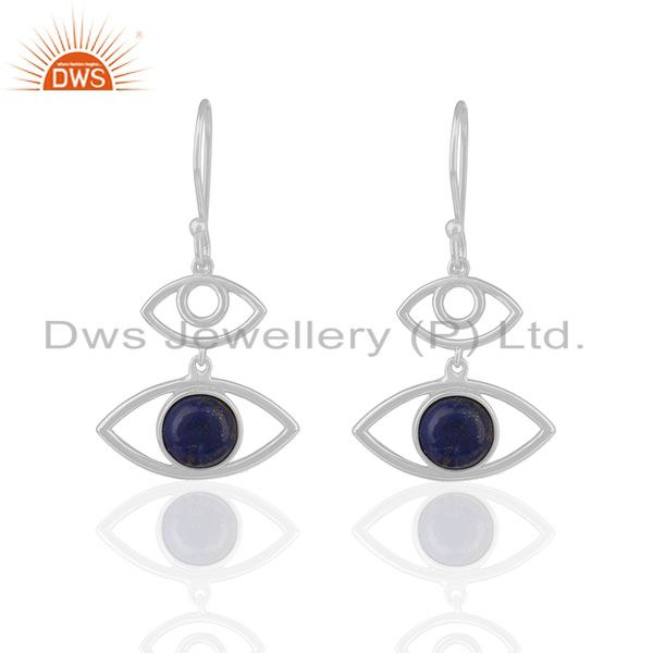 92.5 Sterling Silver Lapis Lazuli Gemstone Eye Earrings Wholesale