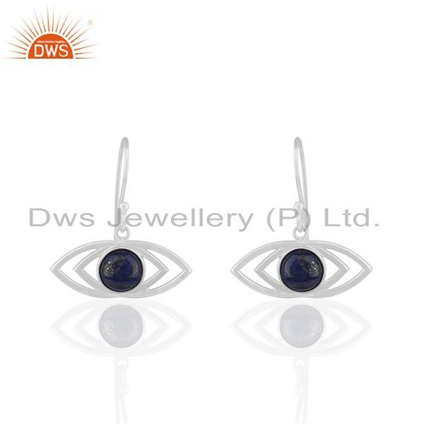 Sterling 92.5 Silver Natural Lapis Lazuli Gemstone Earrings Supplier