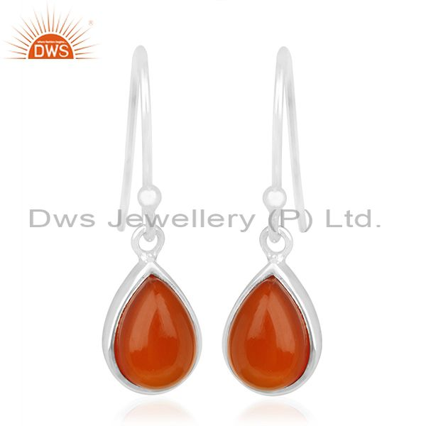 Carnilian Gemstone White Rhodium Plated 925 Silver Drop Earring Wholesale