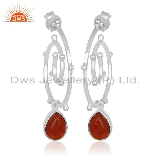 Red Onyx Gemstone Sterling Silver Private Label Earring Manufacturer India