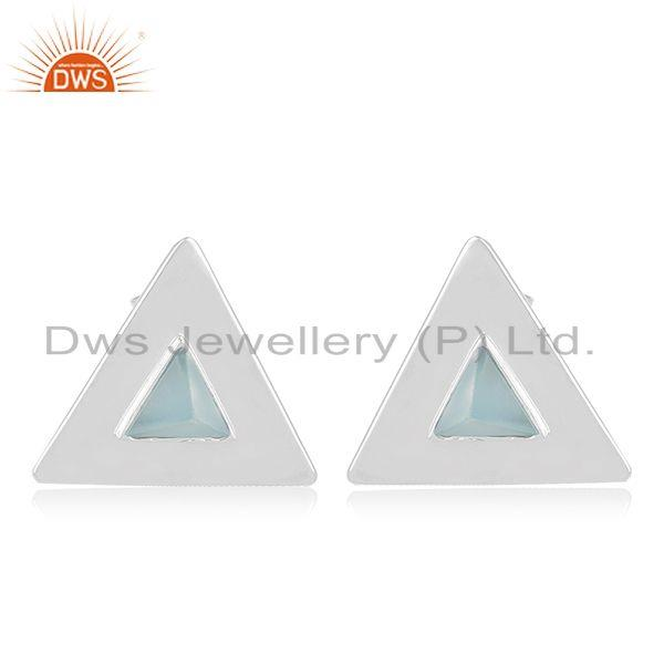 Triangle Design 925 Silver Blue Chalcedony Gemstone Stud Earring Manufacturer
