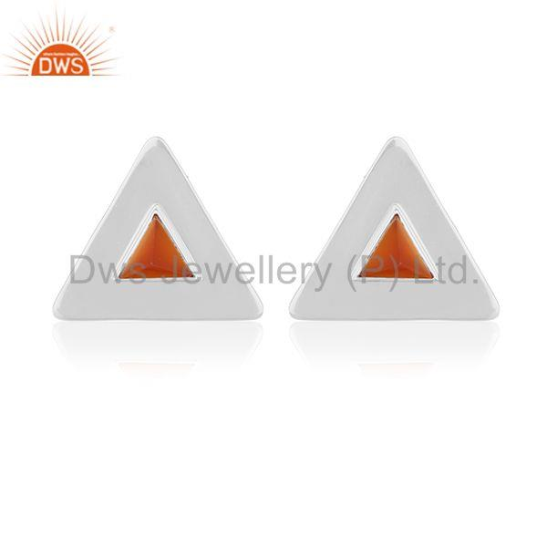 Customized Triangle 925 Silver Gemstone Stud Earrings Manufacturer