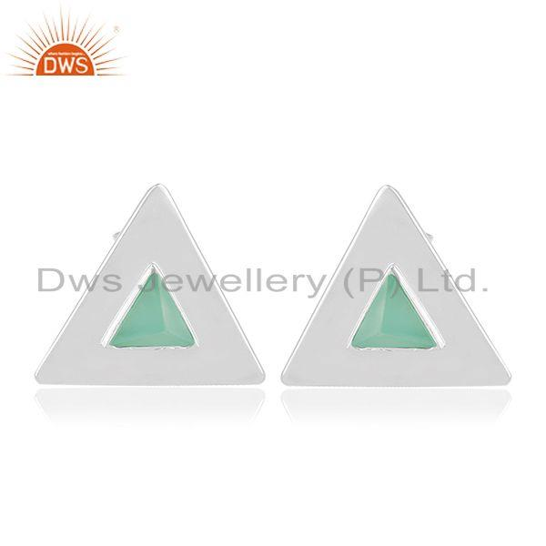 Green Onyx Gemstone Sterling Silver Triangle Stud Earring Manufacturer India