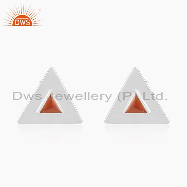 Red Onyx Gemstone Sterling Silver Triangle Stud Earrings for Girls Jewelry