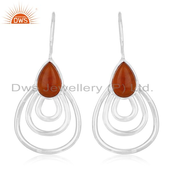 Red Onyx Gemstone 925 Silver White Rhodium Plated Earrings Manufacturers