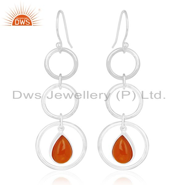 Sterling Silver Red Chalcedony Gemstone Dangle Earring Wholesale Suppliers
