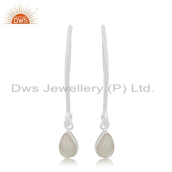 Natural Rainbow Moonstone 925 Sterling Silver Earrings Manufacturer India