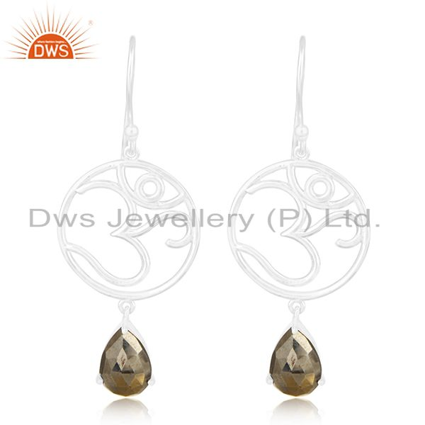 Fine Sterling Silver Om Charm Pyrite Gemstone Dangle Earring Manufacturers
