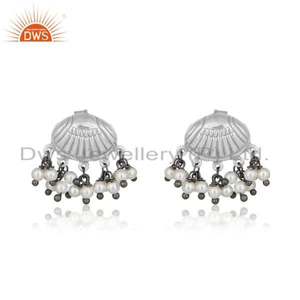 Oxidized 925 Silver Handcrafted Designer Natural Pearl Earring Manufacturer