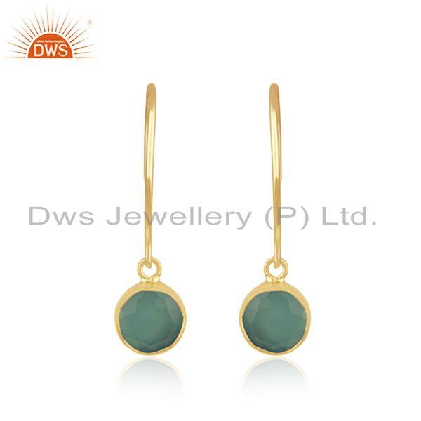 Aqua Chalcedony Gemstone Yellow Gold Plated Sterling Silver Earring Manufacturer