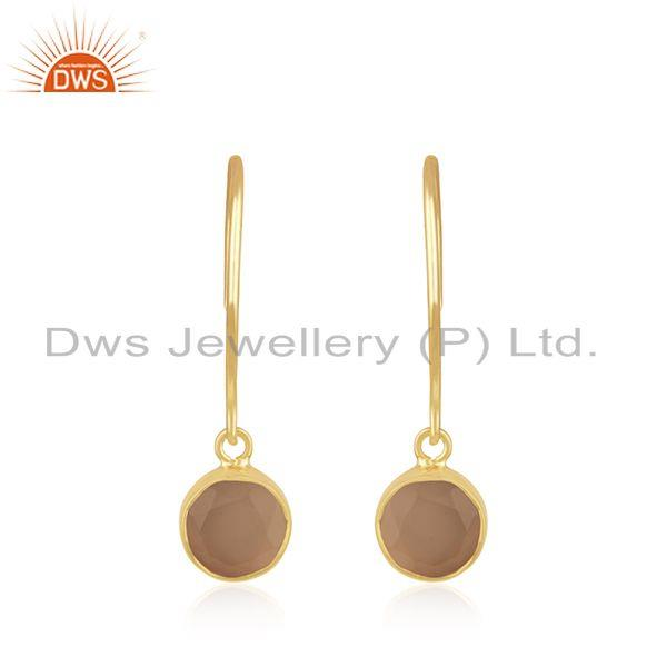 Yellow Gold Plated Sterling Silver Rose Chalcedony Gemstone Earring Manufacturer