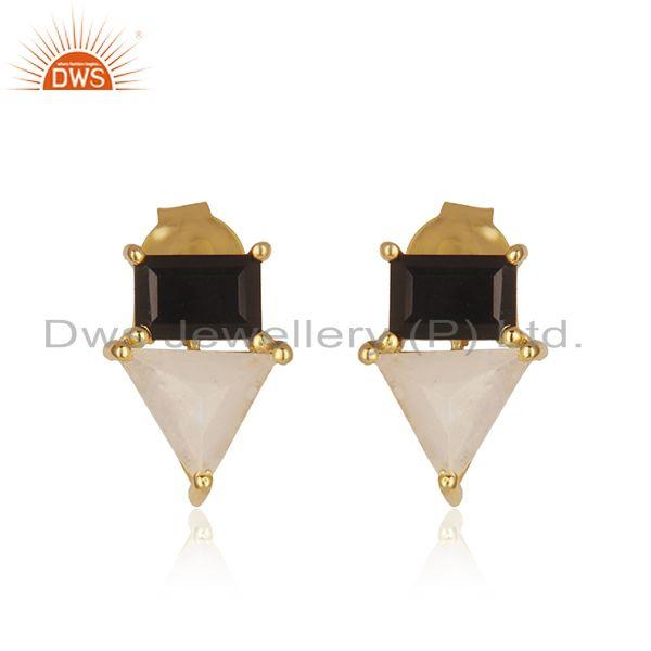 Natural Multi Gemstone Gold Plated 925 Sterling Silver Stud Earrings