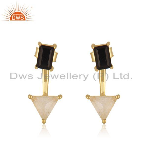 Black Onyx and Rainbow Moonstone Gold Plated 925 Silver Stud Earring Wholesale