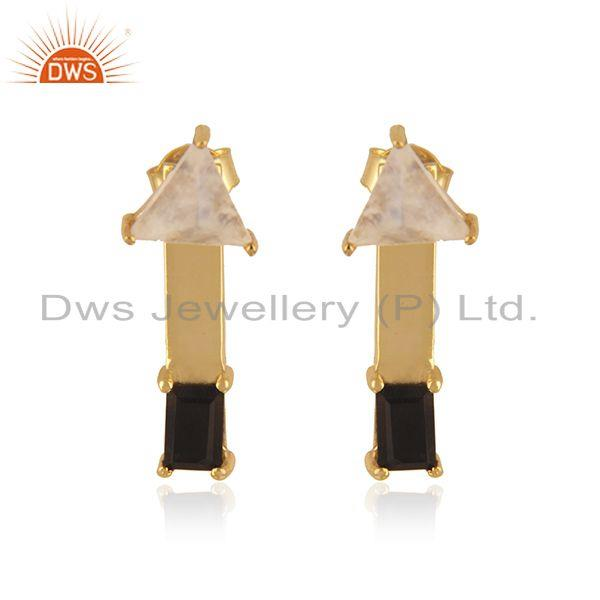 Double Gemstone 18k Gold Plated Sterling Silver Designer Earring Manufacturer