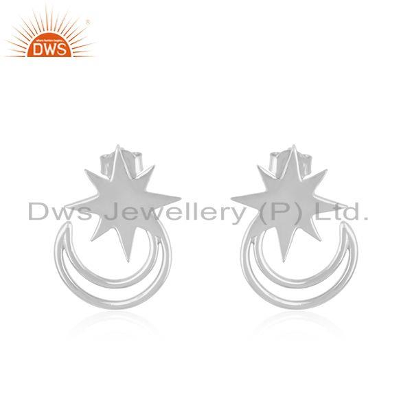 Star and Moon Design Muslim Religous Charm 925 Silver Stud Earring Wholesale