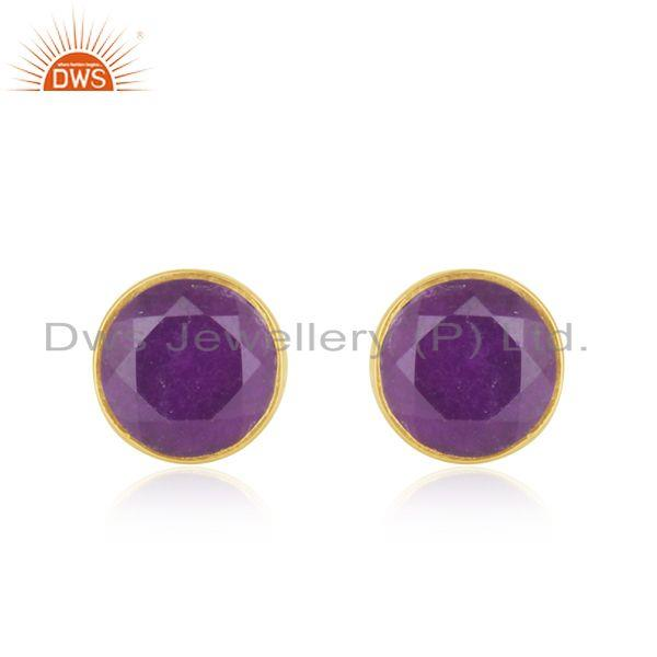 Handmade Gold Plated Sterling Silver Round Gemstone Stud Earrings