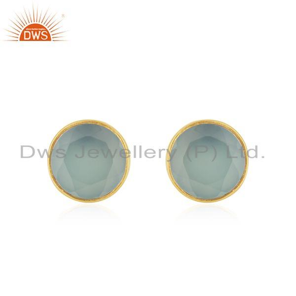 Yellow Gold Plated Sterling Silver Chalcedony Gemstone Stud Earrings