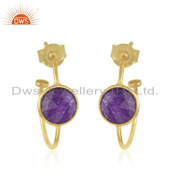 Gold Plated 925 Silver Aventurine Natural Gemstone Earrings Jewelry