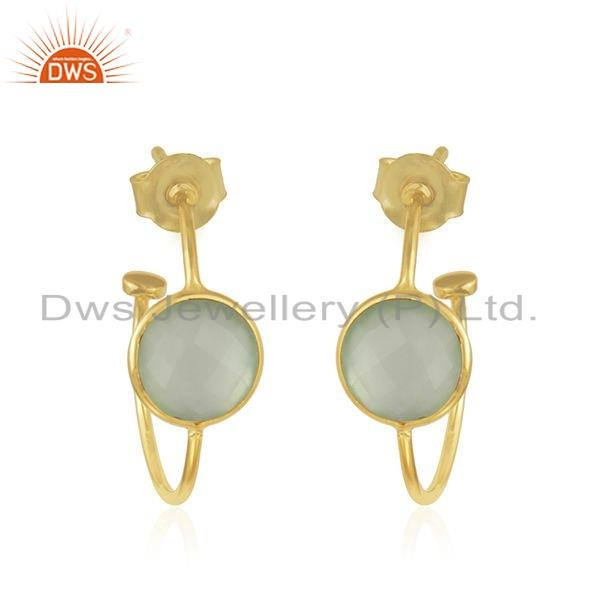 Natural Prehnite Chalcedony Gemstone Yellow Gold Plated Girls Silver Hoop Earrings Jewelry