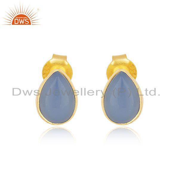 Blue Chalcedony Gemstone Gold Plated Sterling Silver Stud Earrings
