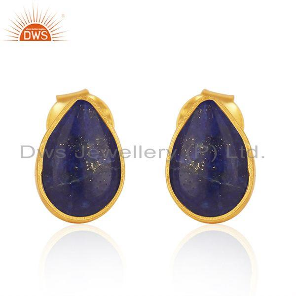 Natural Lapis Lazuli Gemstone Gold Plated 925 Silver Stud Earrings