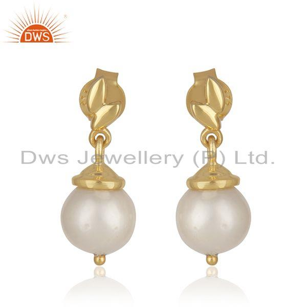 Leaf Design Sterling Silver Gold Plated Natural Pearl Girls Earrings