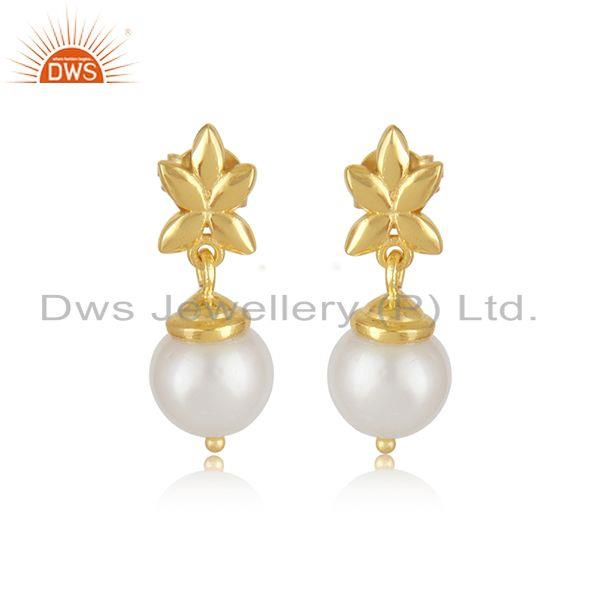 Elegant White Pearl Gold Plated 925 Sterling Silver Designer Earrings